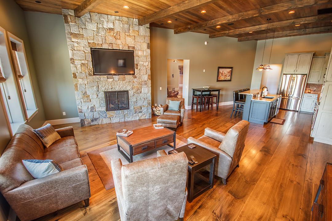 circular block apartment fireplace
